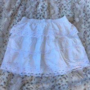 J. Crew white eyelet tiered mini skirt